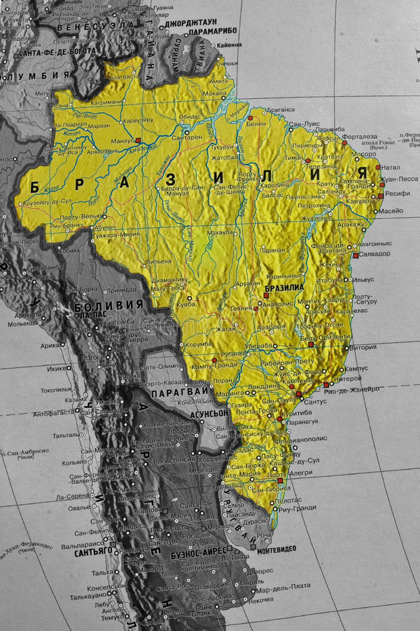 Free Brazil Map Royalty Free Stock Photo - 7609615