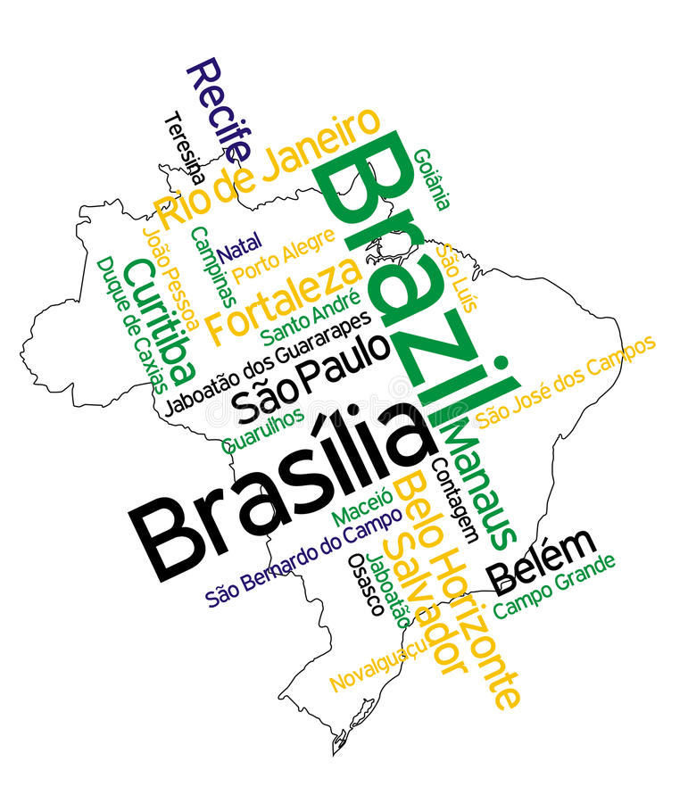 Brazil map and cities stock illustration