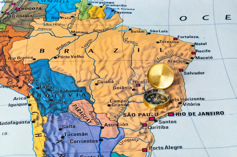 Brazil map and compass stock image Image of global help 54051317