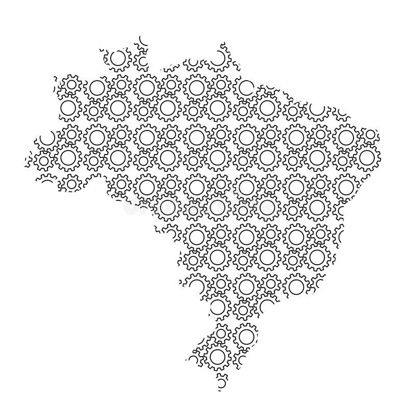 Brazil map country abstract silhouette from industrial gears drive. Black repeating pattern. Vector illustration. stock illustration