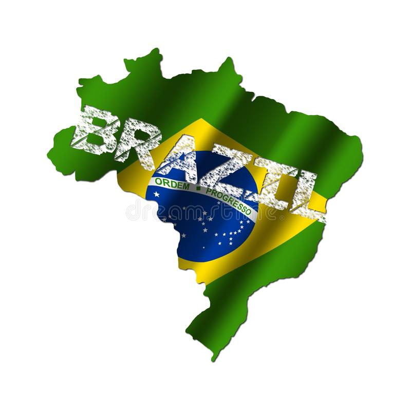 Brazil map flag with grunge text vector illustration