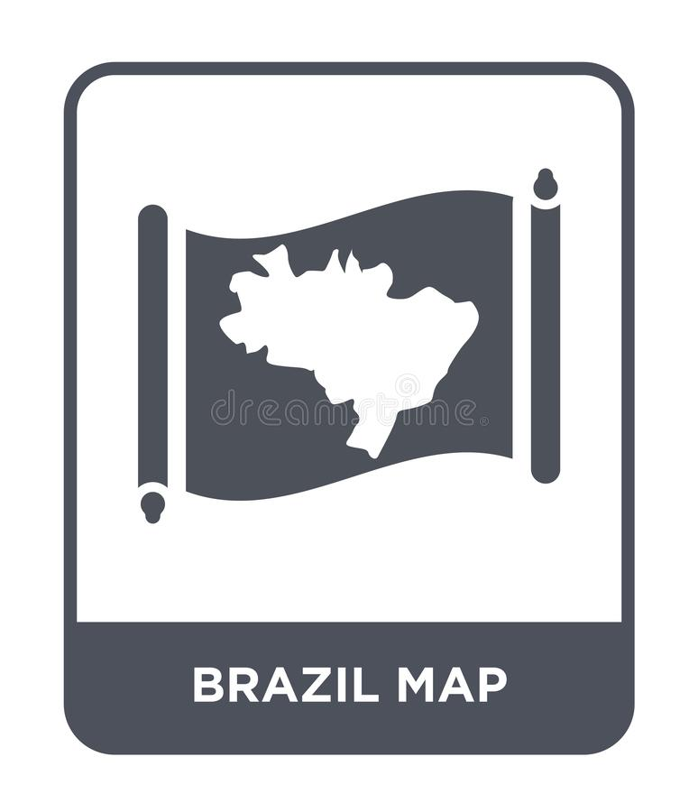 Brazil map icon in trendy design style. brazil map icon isolated on white background. brazil map vector icon simple and modern. Flat symbol for web site, mobile royalty free illustration