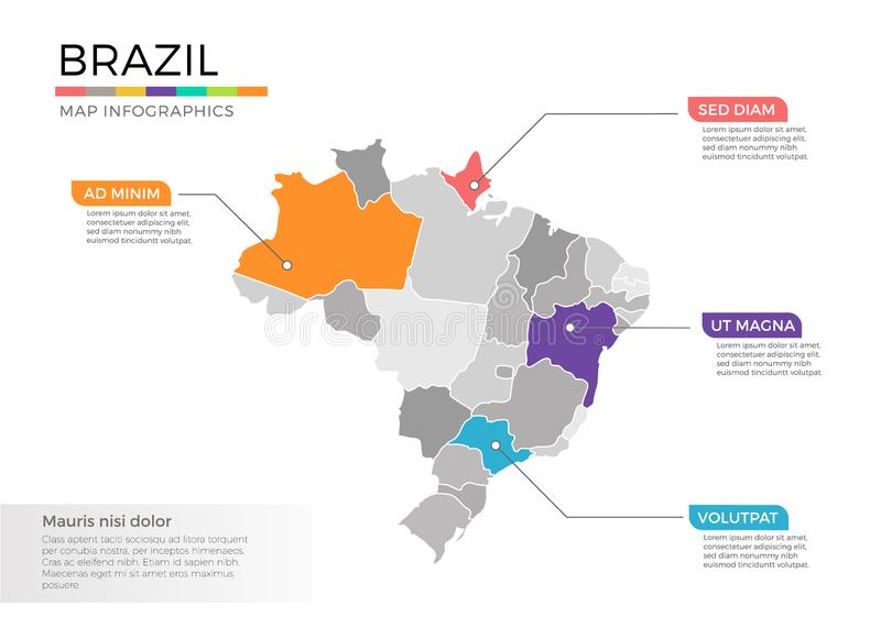 Brazil map infographics vector template with regions and pointer marks. Brazil map info-graphics vector template with regions, districts, state, country isolated royalty free illustration