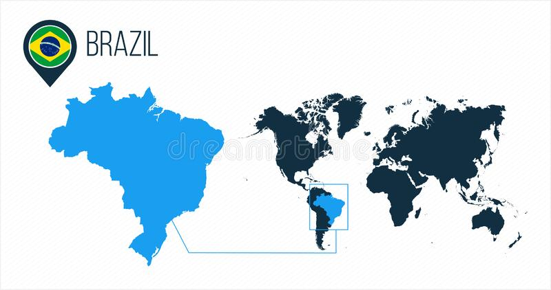 Brazil map located on a world map with flag and map pointer or pin. Infographic map. Vector illustration isolated on white. Brazil map located on a world map royalty free illustration
