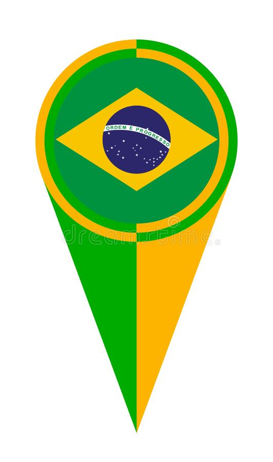 Brazil Map Pointer Location Flag royalty free illustration