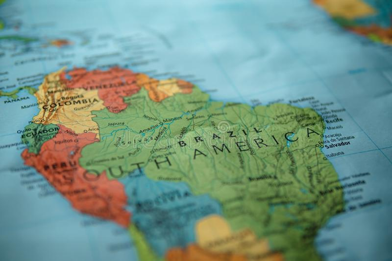 Brazil on a map. Selective focus on label stock photography
