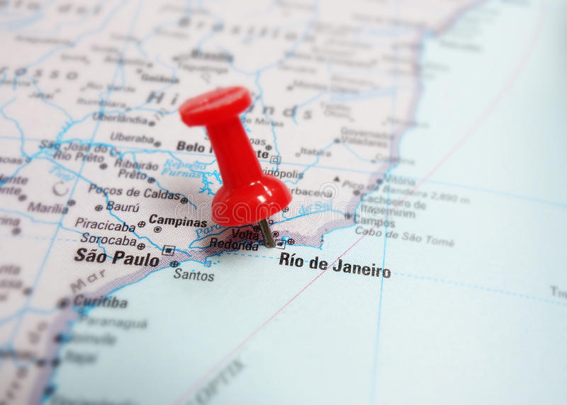 Brazil map. Map of Brazil, showing Rio de Janeiro and Sao Paulo and red tack royalty free stock photo