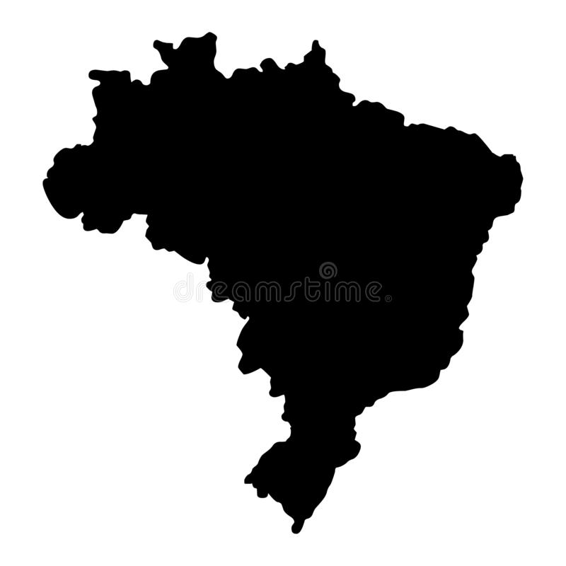 Brazil map silhouette vector illustration. Isolated on white background royalty free illustration