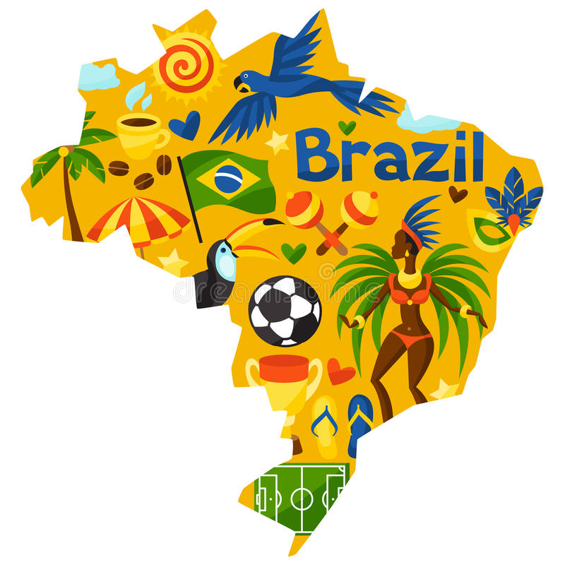 Brazil Map With Stylized Objects And Cultural Stock Vector