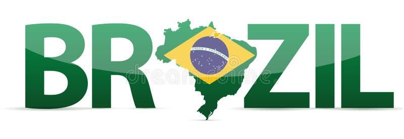 Brazil map text with flag illustration vector illustration