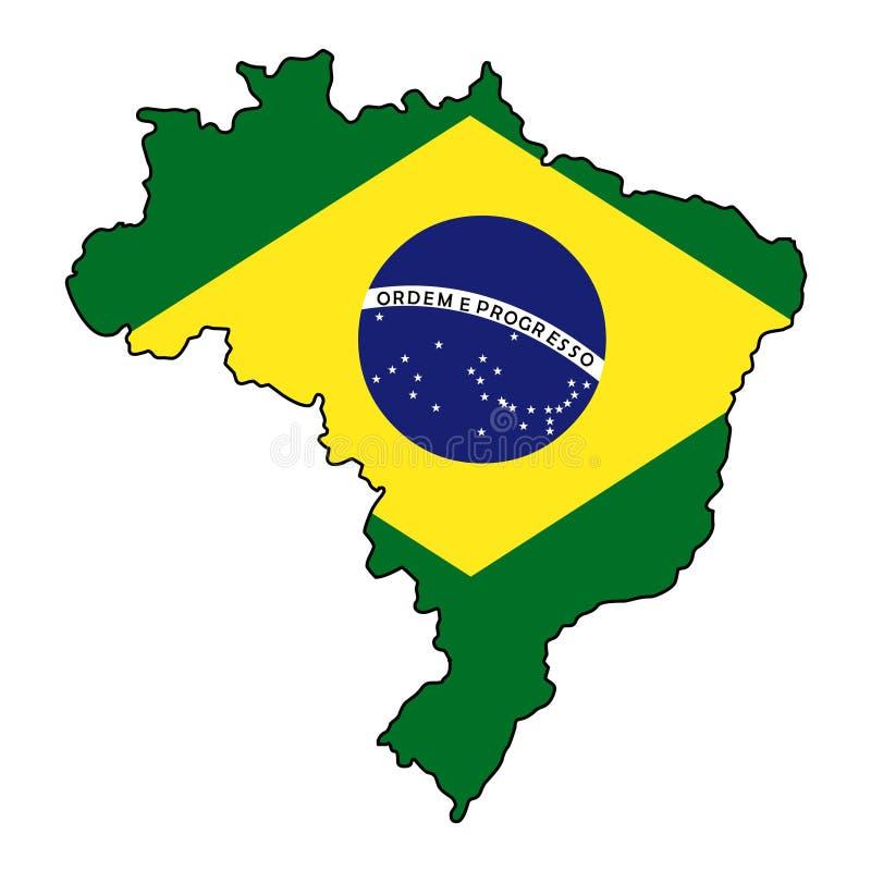 brazil Mapa del ejemplo del vector del Brasil stock de ilustración