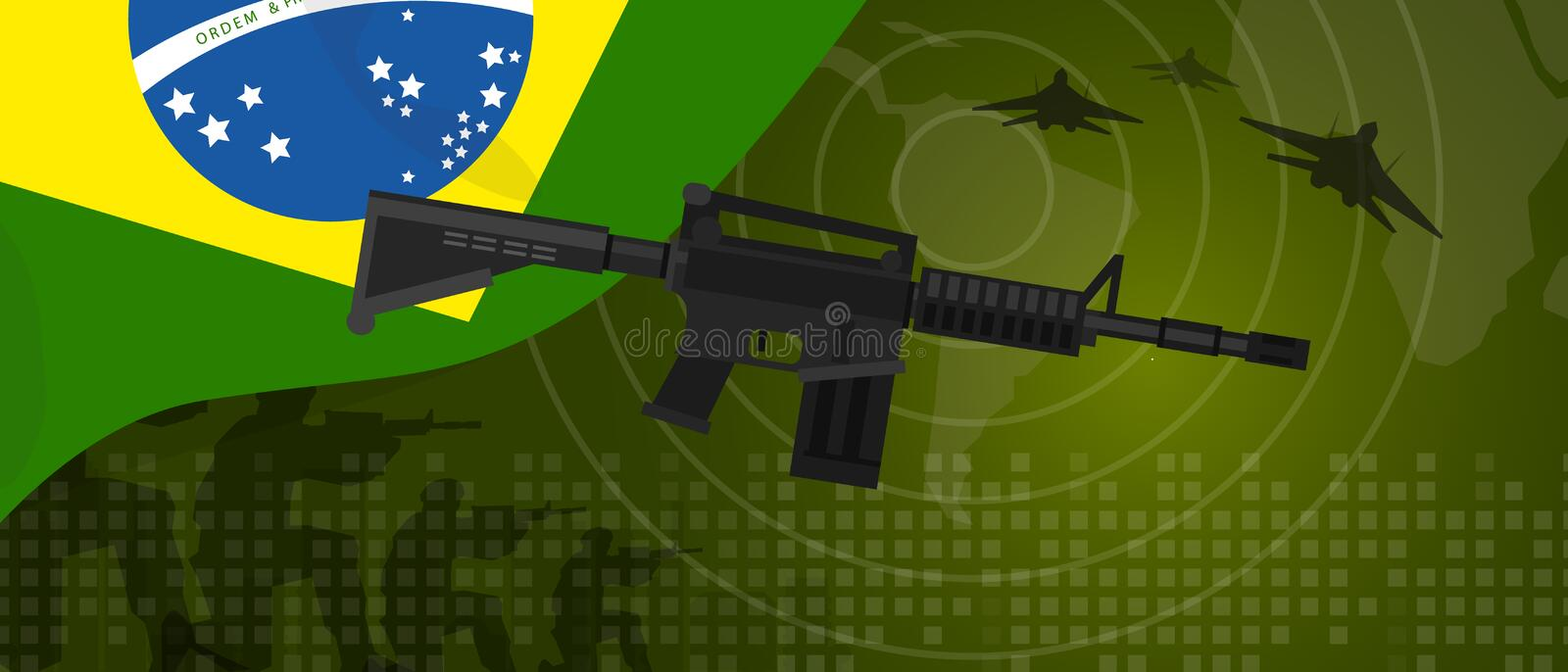 Brazil military power army defense industry war and fight country national celebration with gun soldier jet fighter and. Radar vector royalty free illustration