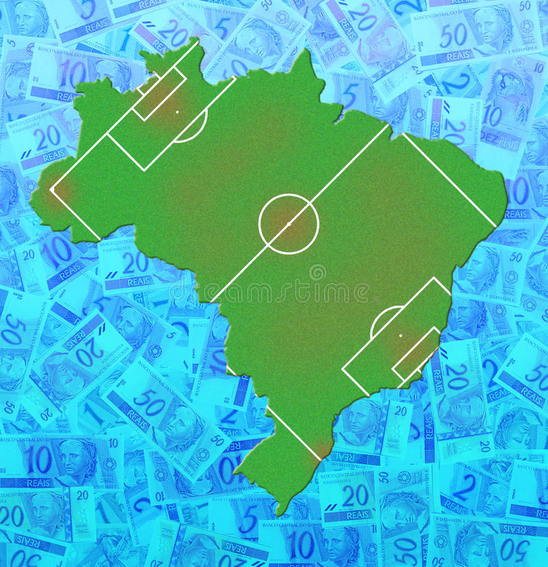 Brazil Money Map (Soccer) stock photos