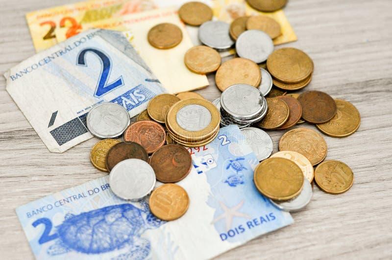 Brazil money on wooden table