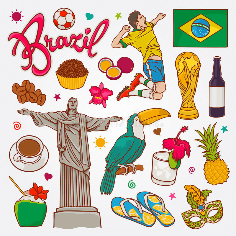 Brazil nature and culture icons doodle set vector illustration royalty free stock photos