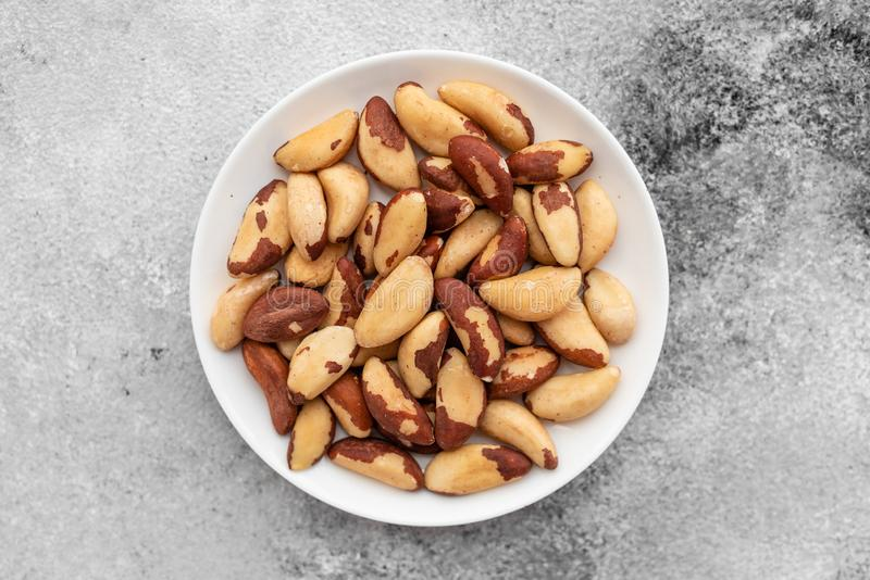 Brazil nuts close up. Breakfast, healthy food stock photography