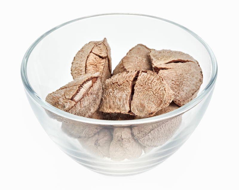 Brazil Nuts In A Glass Bowl Royalty Free Stock Photo