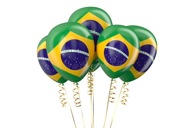 Brazil patriotic balloons, holyday concept. Isolated on white background royalty free illustration