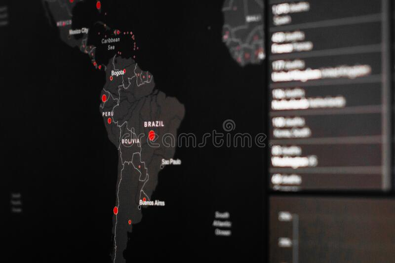 Brazil and Peru map of Coronavirus, SARS-Cov-2. Confirmed cases of coronavirus disease in the world. Report worldwide globally. About COVID-19 spreading, San royalty free stock images