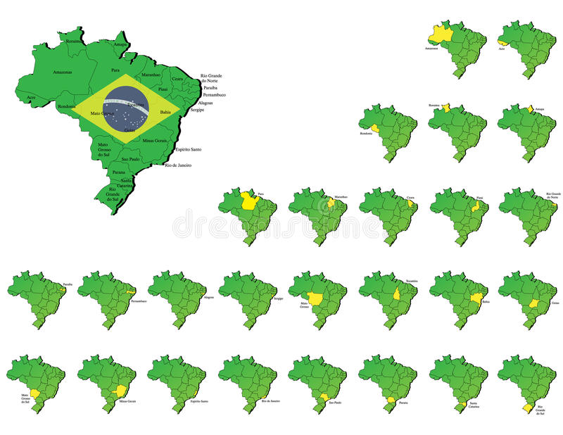 Download Brazil provinces maps stock vector. Image of amazonas - 32880377