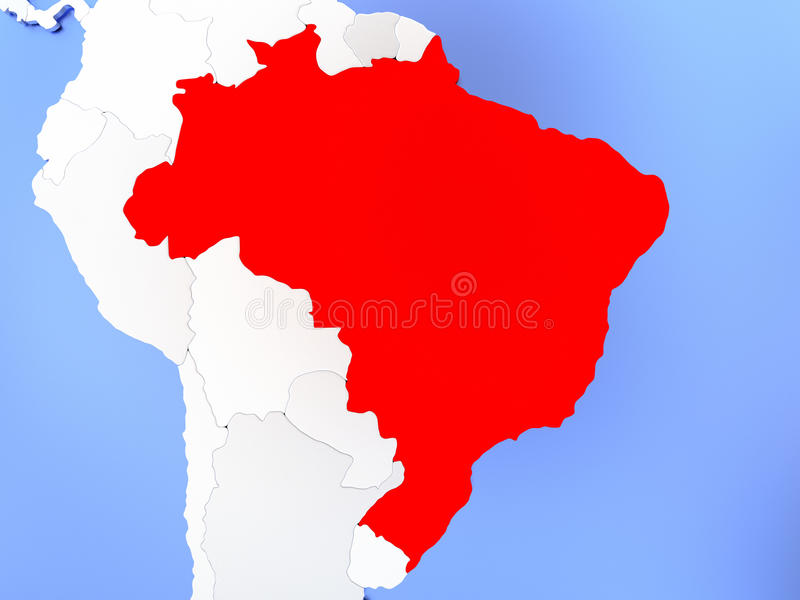 Brazil in red on map stock illustration illustration of political map of brazil highlighted in red on simple shiny metallic map with clear country borders 3d illustration gumiabroncs Images