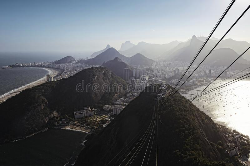 Brazil, Rio de Janeiro, Botafogo, Copacabana from Sugarloaf Mountain royalty free stock images