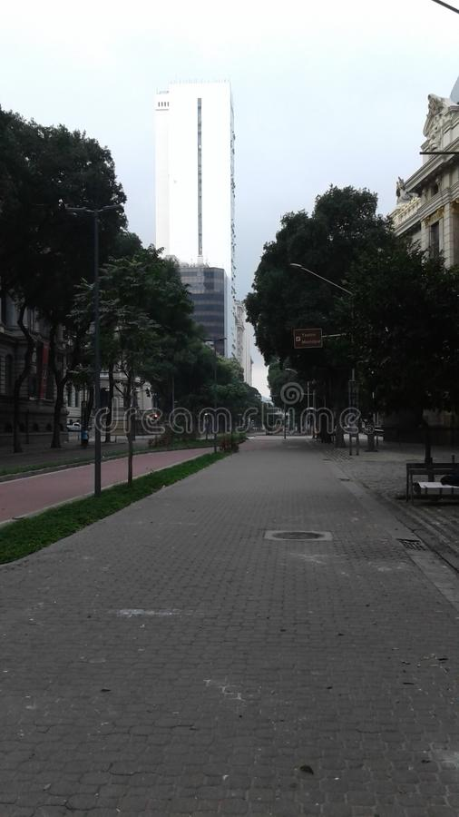 Brazil - Rio de Janeiro - Downtown - Rio Branco Avenue - Trees - History - Business Center stock image