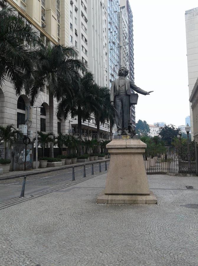 Brazil - Rio de Janeiro - Downtown - treze de maio Avenue - Cinelandia - Municipal Theater - Carlos Gomes Statue. Carlos Gomes Statue in treze de maio avenue stock photo