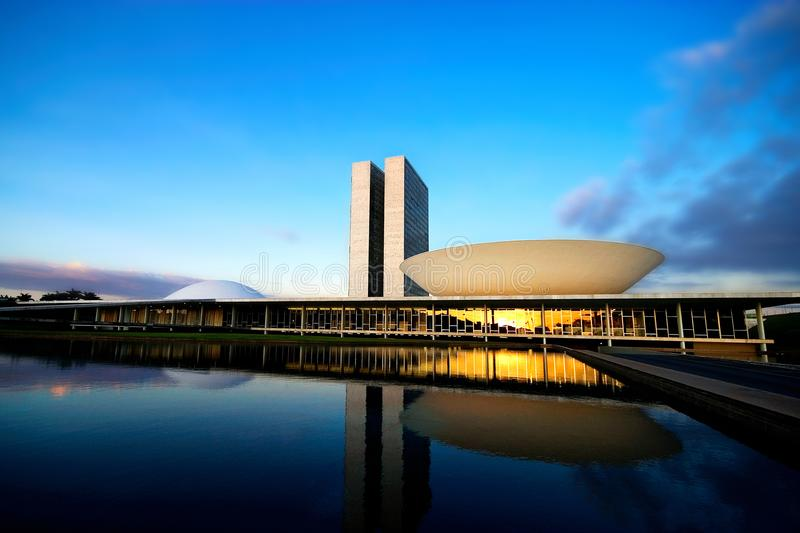 Brasilia, DF / Brazil - May 27, 2007: Brazilian National Congress at Sunset. Brazil`s Bicameral National Congress is part of the city`s main monuments and was royalty free stock photography