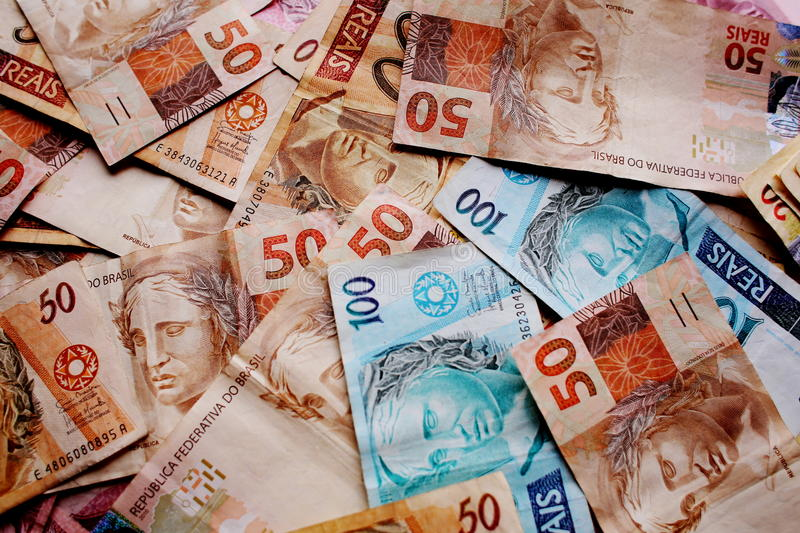 Brazil's currency notes royalty free stock photo