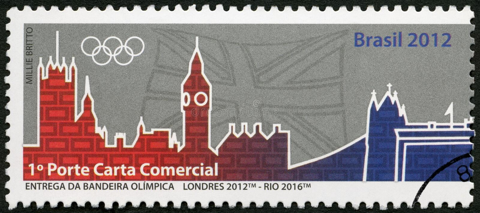 BRAZIL - 2012: shows Olympic Rings, London 2012- Rio 2016, 31th Olympic Games, Rio, Brazil royalty free stock images