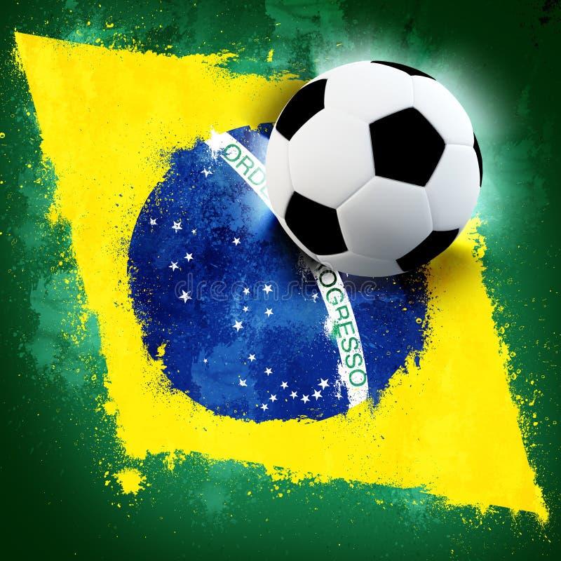 Brazil soccer. Soccer ball on Brazil grunge painted flag