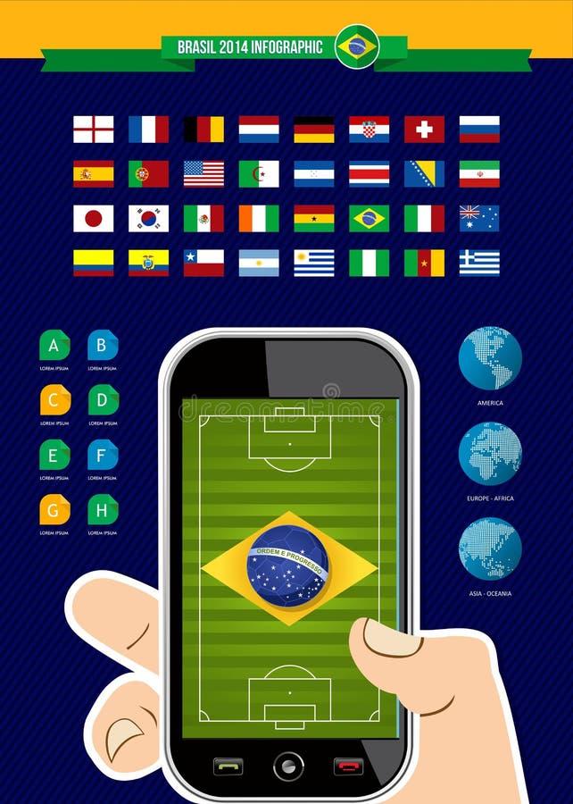 Brazil soccer championship app phone infographic stock illustration