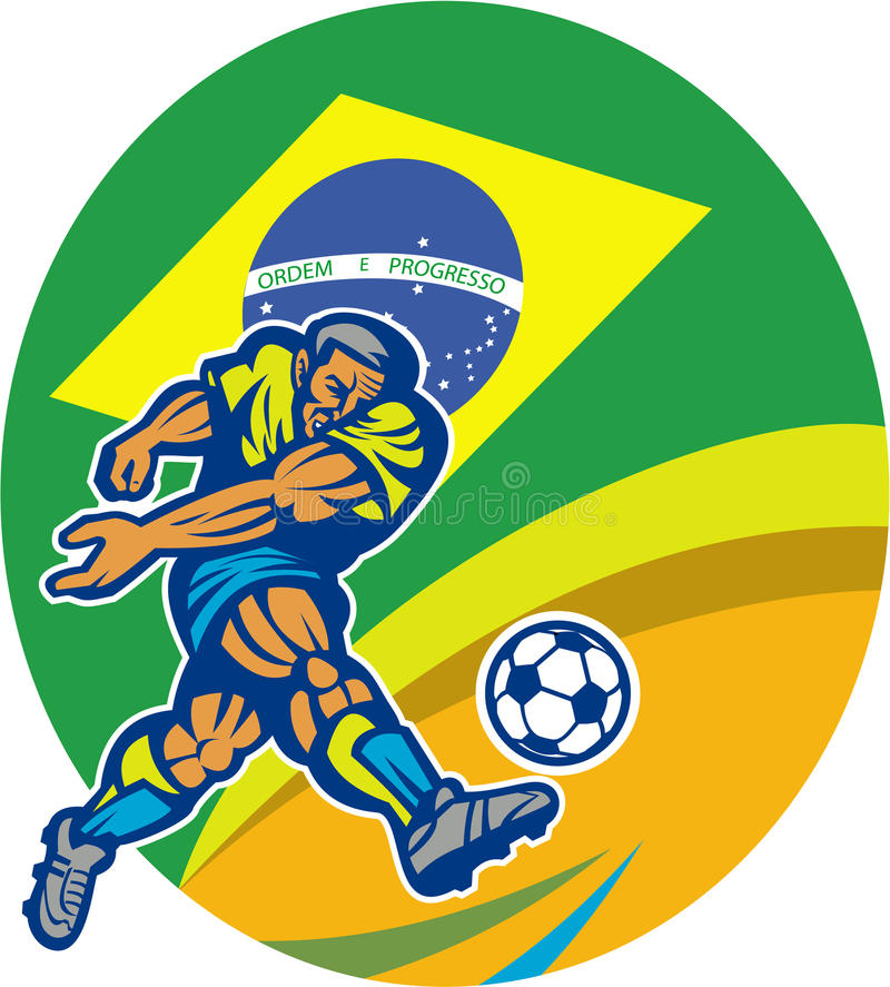 Brazil Soccer Football Player Kicking Ball Retro vector illustration