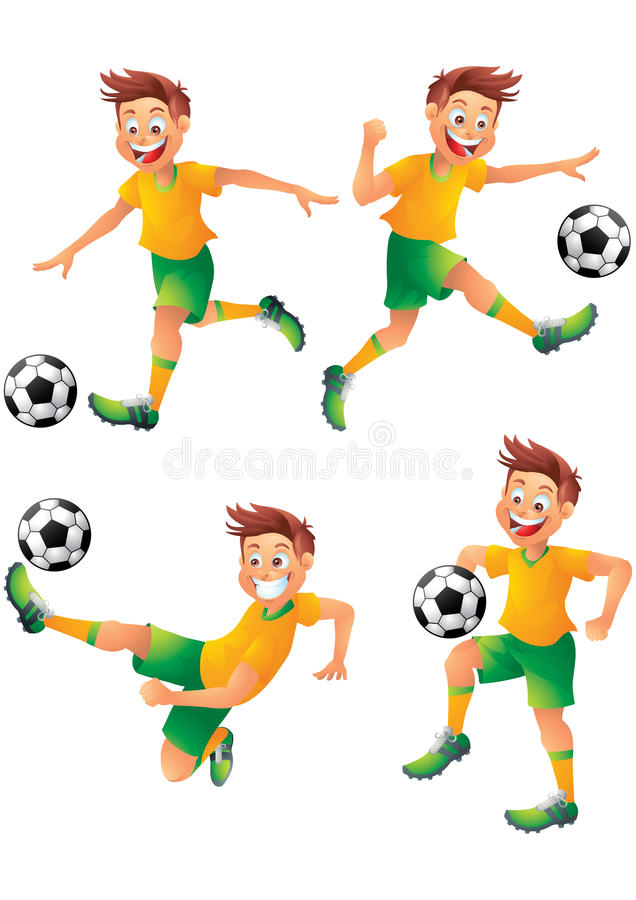 Brazil soccer player cartoon character posing. Isolated stock illustration
