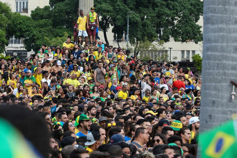 Brazil Soccer World Cup Fans royalty free stock images