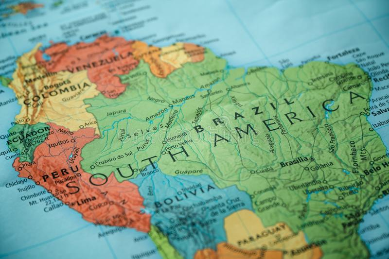Brazil, South America on a map royalty free stock photography