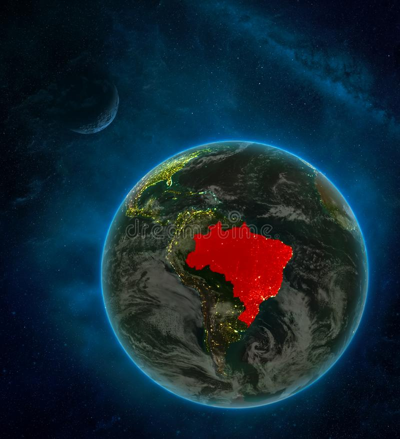 Brazil from space on Earth at night surrounded by space with Moon and Milky Way. Detailed planet with city lights and clouds. 3D. Illustration. Elements of this vector illustration