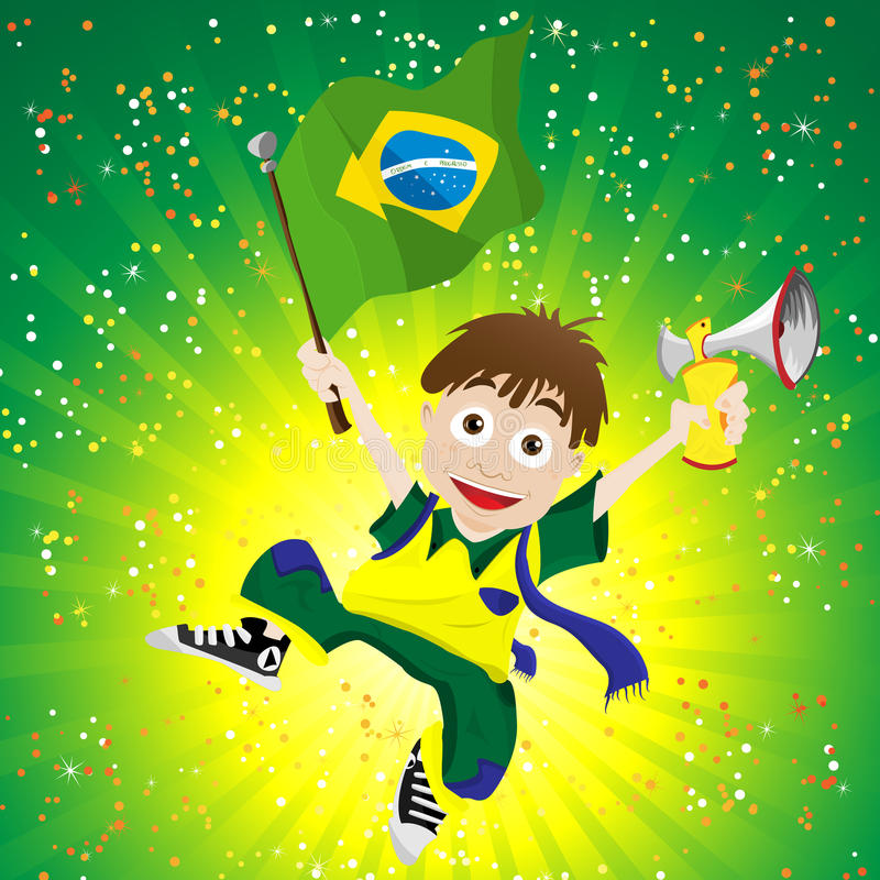 Brazil Sport Fan with Flag and Horn royalty free illustration