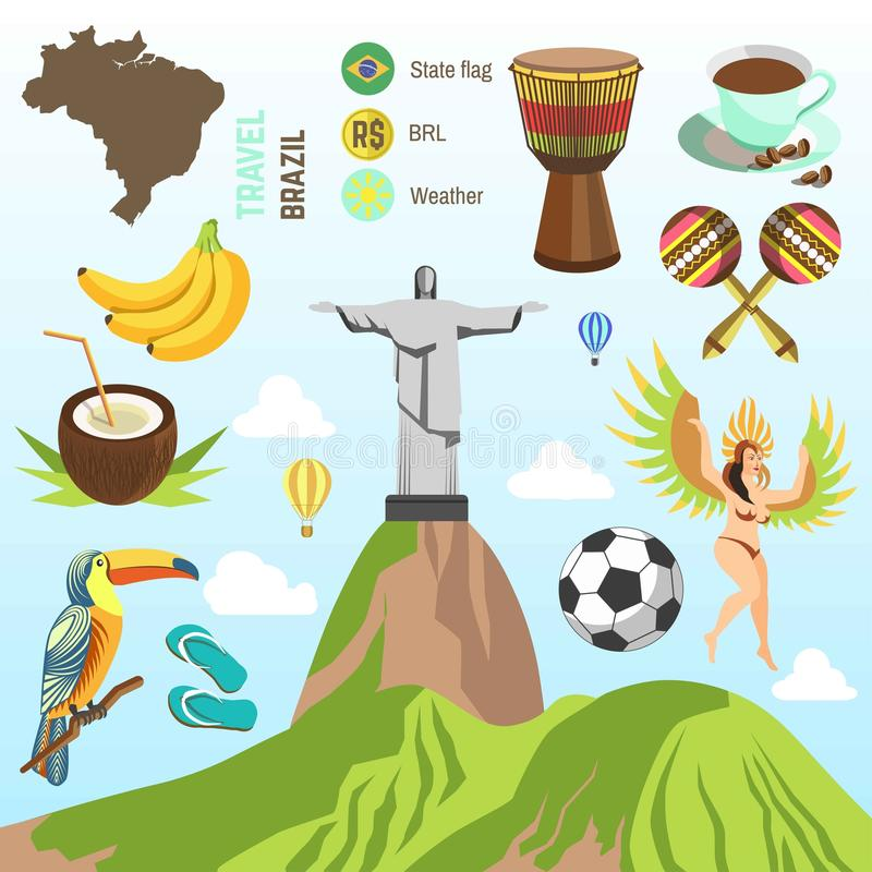 Brazil travel vector famous Brazilian sightseeing and culture landmarks. Brazil travel poster of famous Brazilian sightseeing and culture landmarks. Vector stock illustration