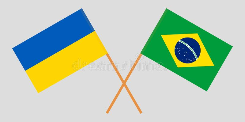 Brazil and Ukraine. The Brazilian and Ukrainian flags. Official proportion. Correct colors. Vector. Illustration vector illustration