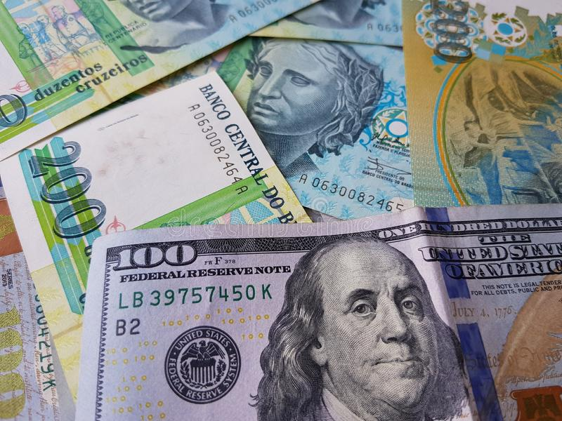Brazil and the United States Join in the trade and economy, banknotes Use it as a Forex or Financial.  stock images