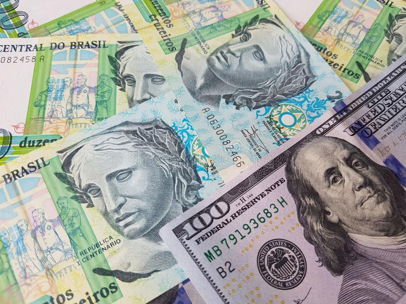 Brazil and the United States Join in the trade and economy, banknotes Use it as a Forex or Financial.  stock photography