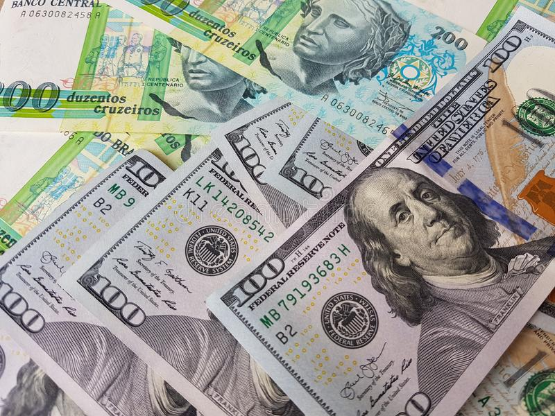 Brazil and the United States Join in the trade and economy, banknotes Use it as a Forex or Financial.  royalty free stock photography