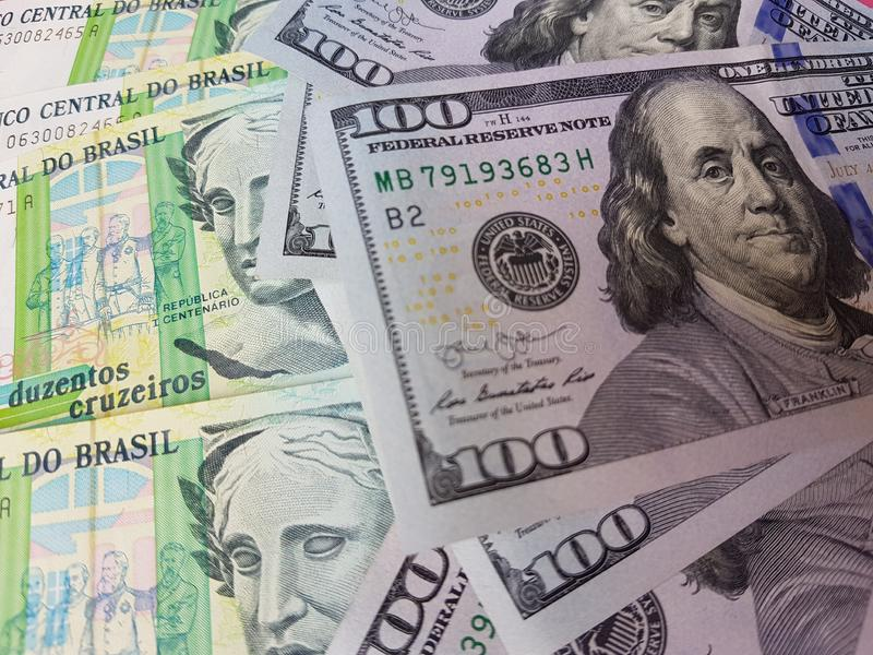 Brazil and the United States Join in the trade and economy, banknotes Use it as a Forex or Financial.  stock photos