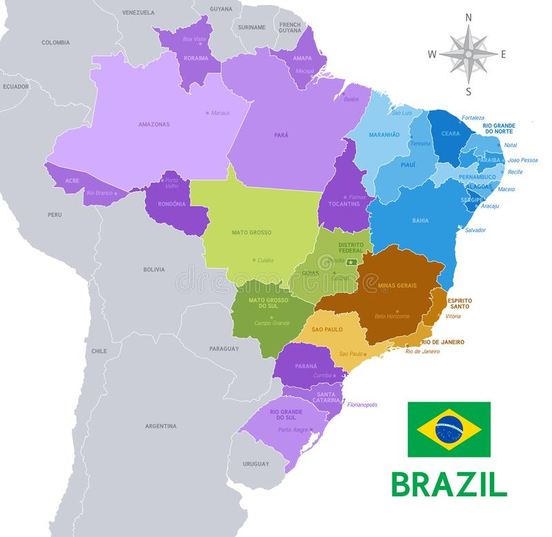 Brazil Vector Administrative Map Stock Vector Illustration of