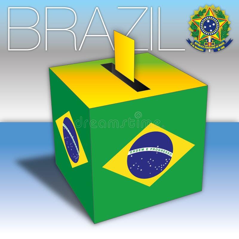 Brazil, voting ballot box with Brazilian flag royalty free illustration