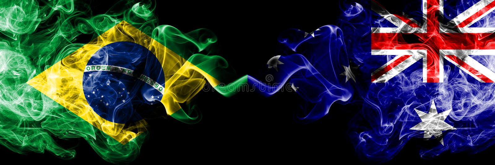 Brazil vs Australia, Australian smoke flags placed side by side. Thick colored silky smoke flags of Brazilian and Australia, vector illustration