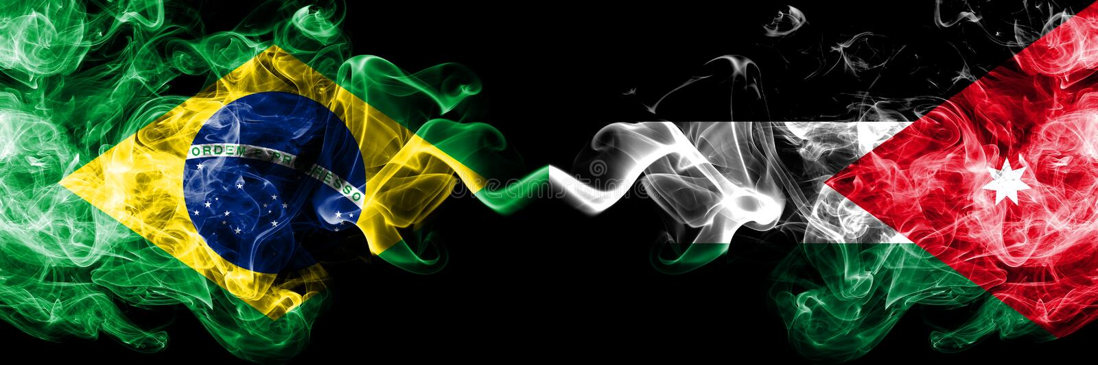 Brazil vs Jordan, Jordanian smoke flags placed side by side. Thick colored silky smoke flags of Brazilian and Jordan, Jordanian.  royalty free stock photography