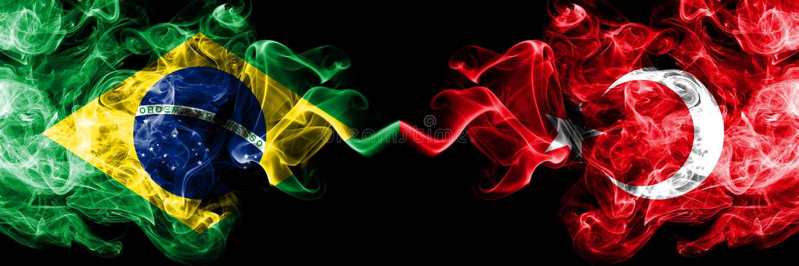 Brazil vs Turkey, Turkish smoke flags placed side by side. Thick colored silky smoke flags of Brazilian and Turkey, Turkish.  royalty free stock photos